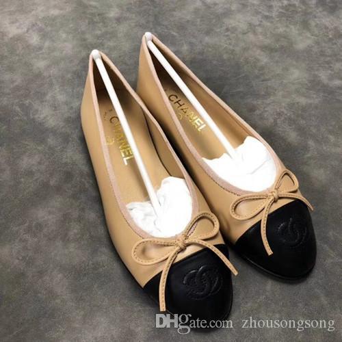 alta qualidade boca rasa redondas sapatos baixos mulheres grandes 35-42 femininas genuíno sapatos de ballet arco de couro multicolor NO38