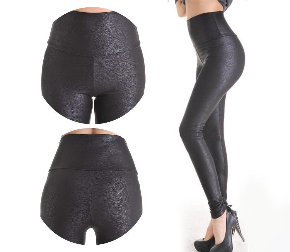 2018 Nouvelle Vente De Mode Serpentine Sexy Leggings Femmes Leggins Stretch Taille Haute Qualité Pantalon En Cuir Faux Plus La Taille Yak0010 MX190714