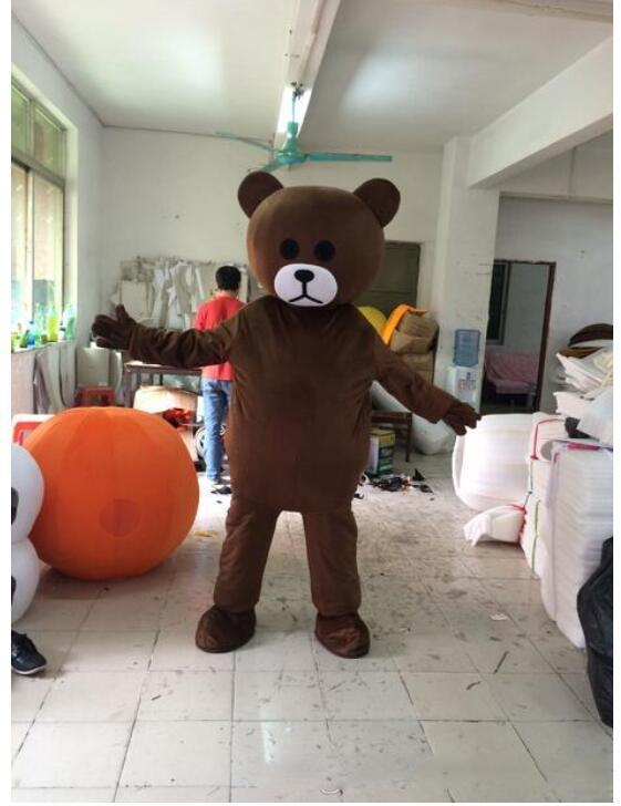 2020 Professional custom Brown bear Mascot Costume Cartoon Coffee Teddy bear Character Mascot Clothes Christmas Halloween Party Fancy Dress