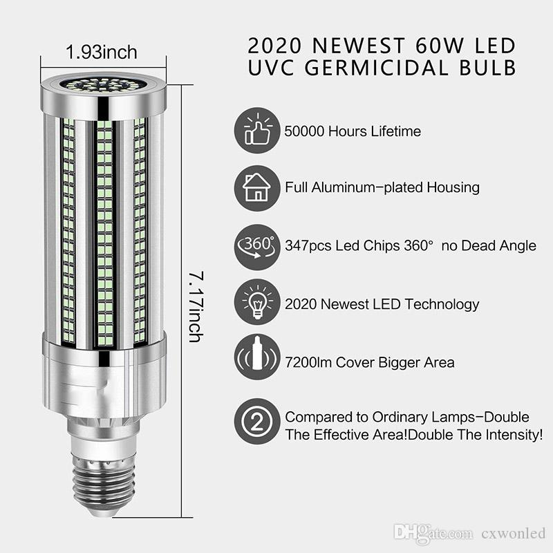 2Pcs 100w UV Germicidal Lamp Corn Bulb Ultraviolet UVC Light Sterilization