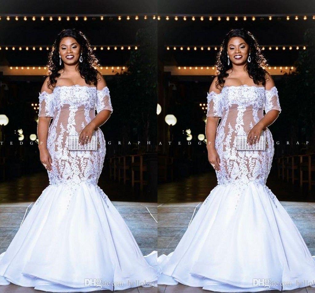 Elegante Tamanho Lace Além disso Mermaid Wedding Vestidos Off Shoulder mangas curtas Illusion Voltar Longo vestido de casamento vestidos de noiva vestidos de novia