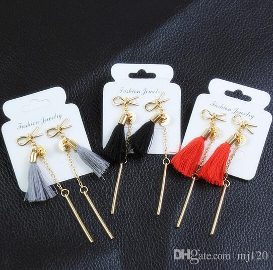 E0222 Long Gold-color Tassel Earrings Sweet Cute Bow Knot Drop Earrings For Women Fashion Jewelry 2017 HOT SALE Bijoux Girl Gift