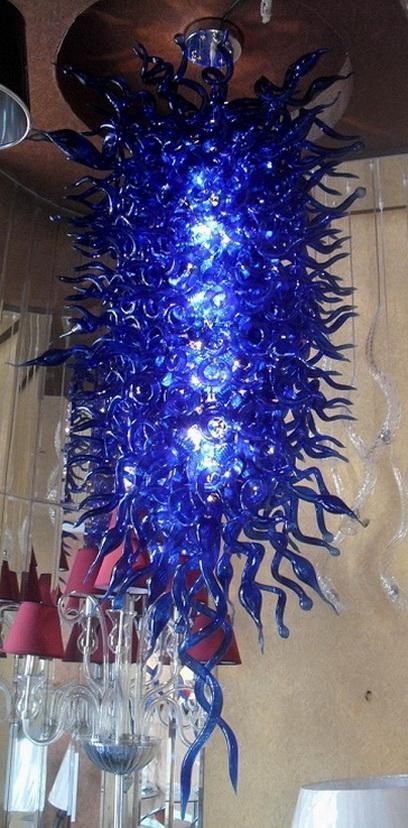 Neue Ankunfts-Blau Farbiger Dale Chihuly Kronleuchter Lange Hotel Western modernen Stil Fantastic Art Glas Marokkanische Anhänger