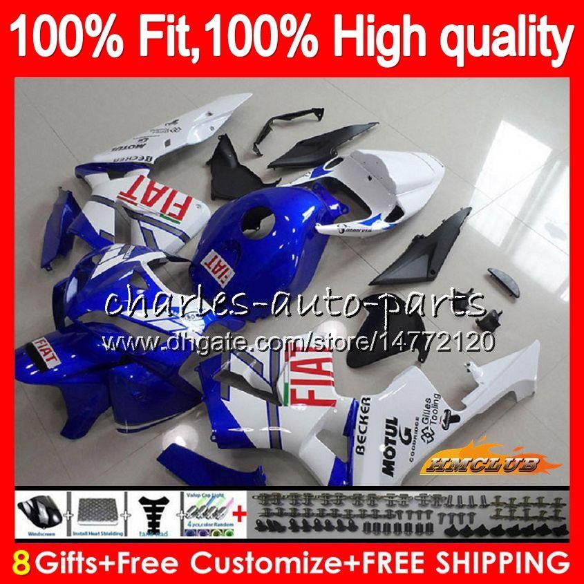 Molde de injeção para Honda CBR600 CBR600F5 CBR 600RR CBR 600 RR F5 05 06 80NO.238 CBR600RR CBR600F5 branco azul 2005 2006 05 06 OEM carenagens