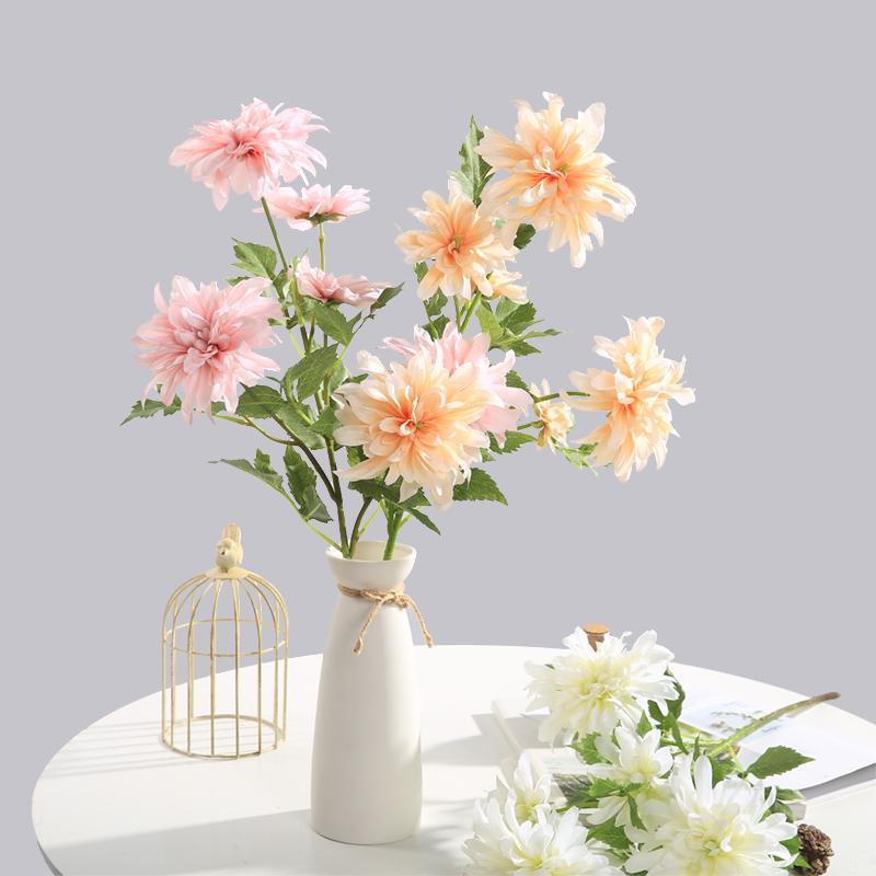 Chencheng 64 cm 3 têtes Fleurs artificielles Dahlia Faux fleurs soie Pivoine fête de mariage de fleur d'automne Accueil Décor