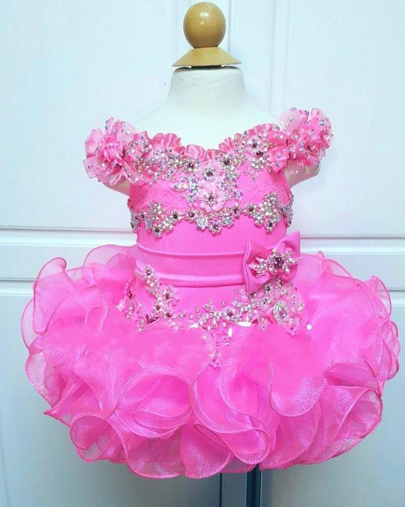 Fuchsia Alças queque Meninas Pageant Vestidos Mini frisados plissados hierárquico Saias Vestidos Primeira Comunhão meninas Partido Vestidos