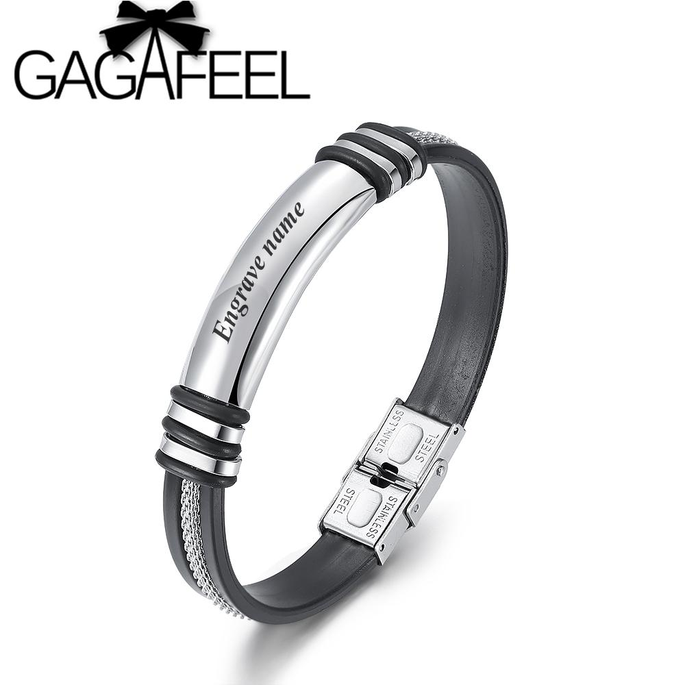 GAGAFEEL Gold Silver Stainless Steel ID Bracelets for Men Silicone Bracelet Fashion Jewelry Male Gift Customize Bangle