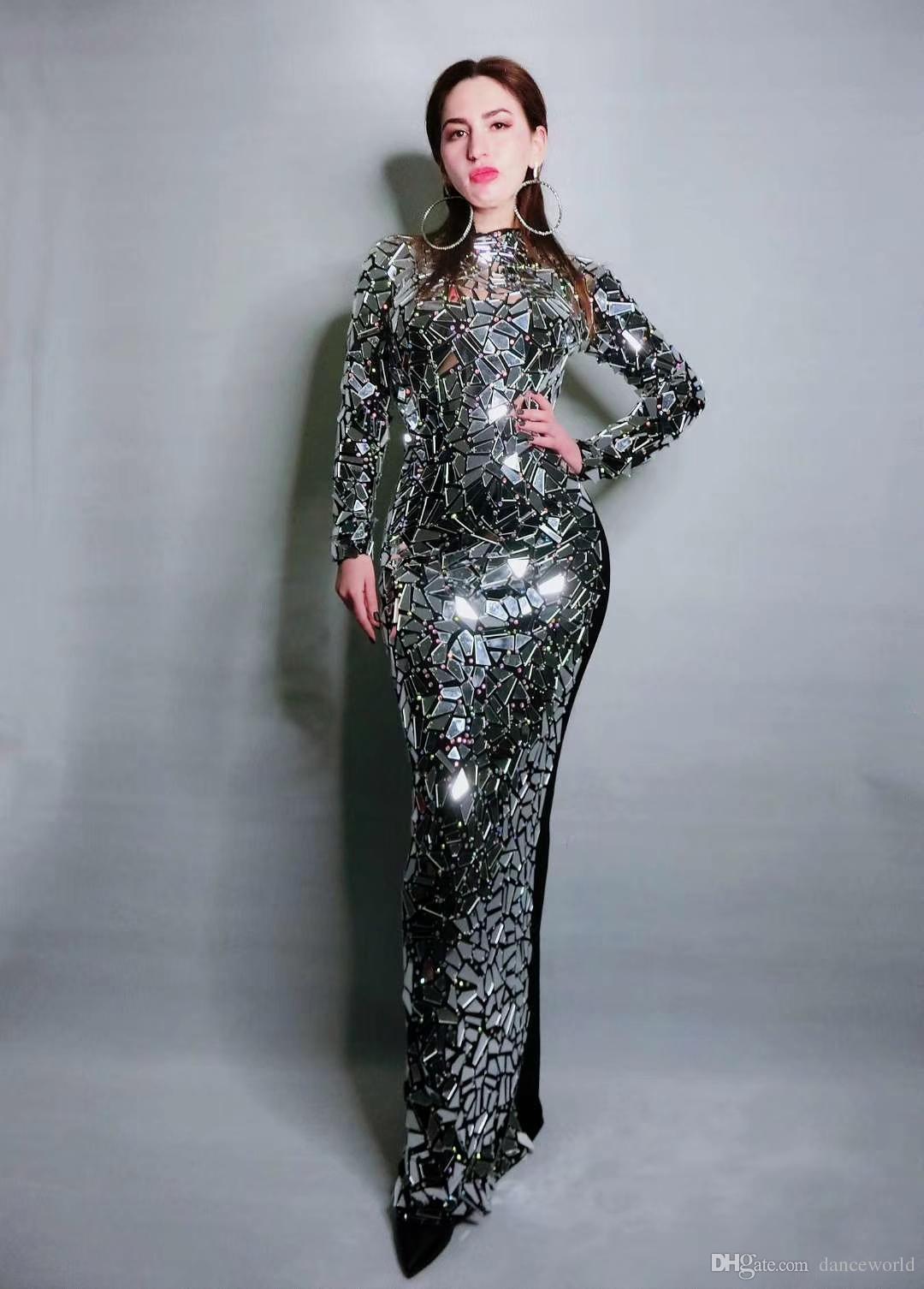 Nuevo diseño brillante espejos llenos vestido largo de noche vestidos de cumpleaños Rhinestone Costume Prom Celebrate vestidos de Bling gris