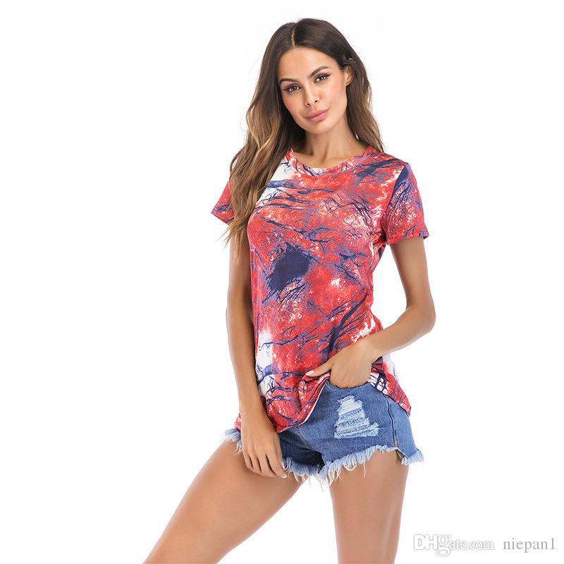 새로운 여름 2019 도덕성을 키우는 인쇄 짧은 소매 티셔츠 긴 돈 여자 큰 사이즈의 의류의 여유