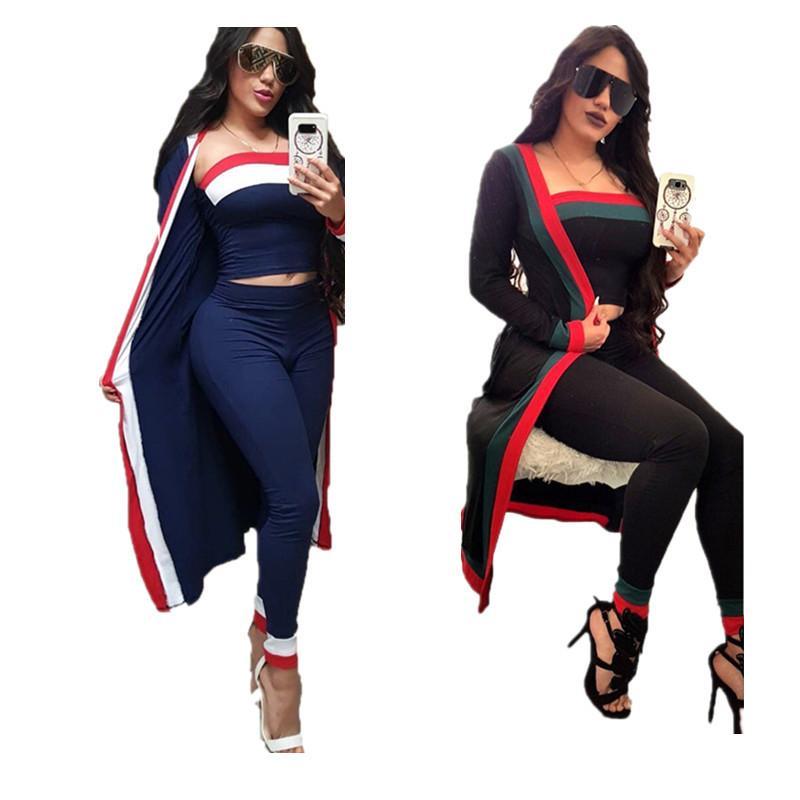 3шт / Set Женщина пальто костюм с длинным рукавом полосатой пальто Outwear + бюстгальтер Crop Top + кальсоны гетры Осень Дизайн Мода Одежда Горячей Продажа