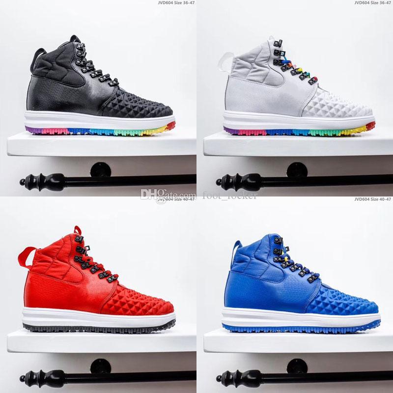 أحذية في الهواء الطلق LF1 القمرية Duckboot 1 احدة الاطفال الرجال النساء القسري 2020 الجديدة عالية قص الأزرق 2020 جديد وصول مصمم الأزياء أحذية الكلاسيكية