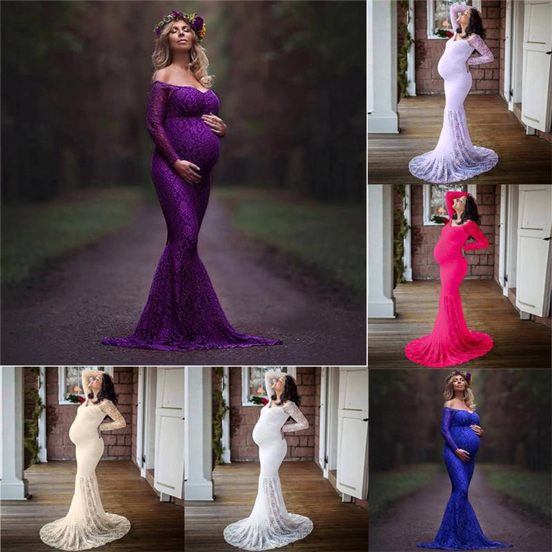Vestido de maternidade mulheres grávidas adereços fotografia sexy fora dos ombros lace enfermagem longo dress vestidos de maternidade para sessão de fotos y190522