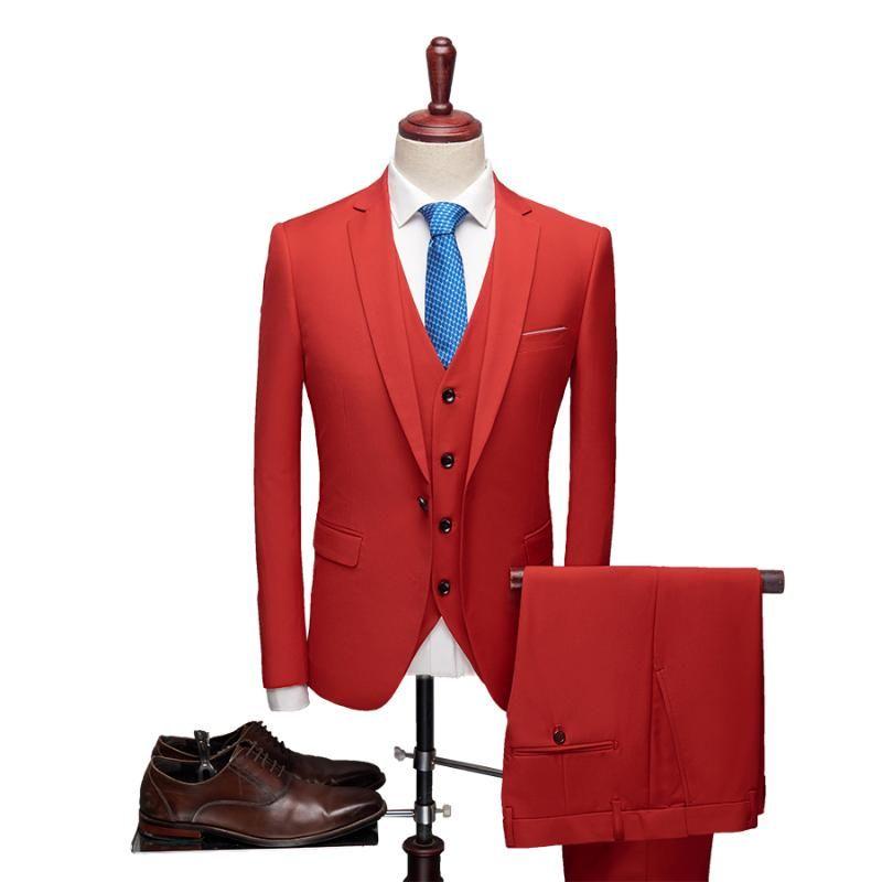 Ternos Masculinos Blazers 2021 Primavera Mens Noivo do Casamento Plus Size L- 6XL 3 Peças (Jacket + Vest + Pant) Slim Fit Casual Smoking Terno Masculino