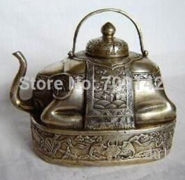Decoration Decor Old Handwork wonderful Tibet silver elephant teapot Statue Tibet Miao Antique Old Silver