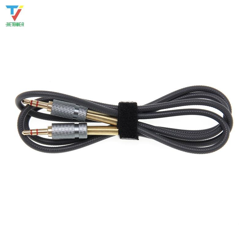 300pcs / lot 1 m / 3 ft 3,5 mm Stecker auf Stecker vergoldet Federschutz L Stecker AUX Audio-Kabel-Schnur