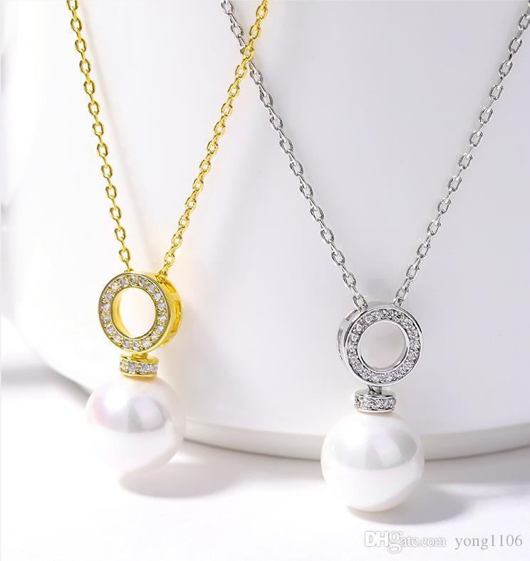 Nuevo explosivo tendencia de moda europea y americana accesorios simples collar mujer diamante perla clavícula collar joyería