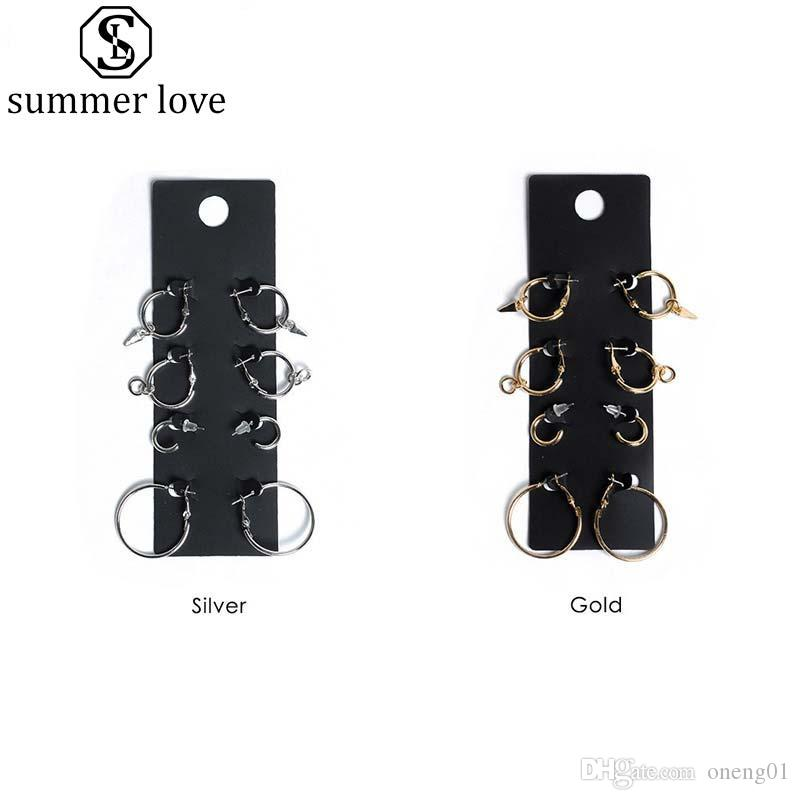 2019 4Pair/Set Hoop Earring for Women Girls Fashion Silver Gold Plating Punk Minimalist Round Jewelry Set With Gift Black Card