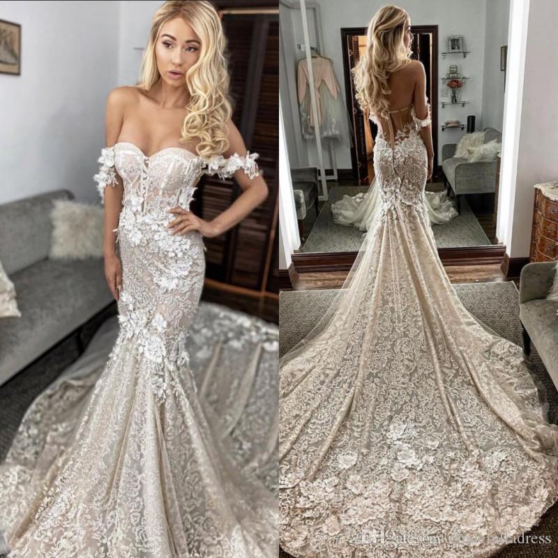 2020 Sexy Берта плеча Русалка Свадебные платья Шнурок 3D Аппликация развертки Поезд Backless сшитое Свадебные платья