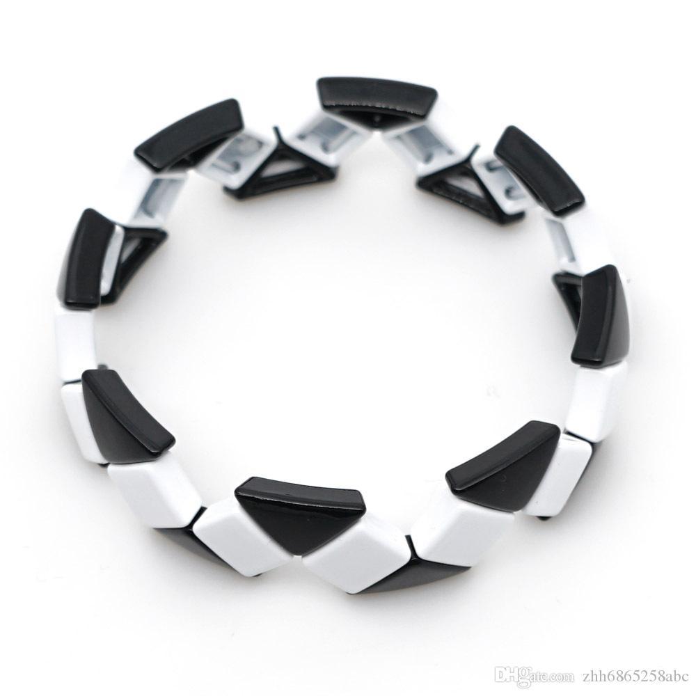 ola pintura de esmalte par de joyas de estilo de moda de aseguramiento de comercio de forma geométrica perlas Negro Blanco manguito pulseras al por mayor