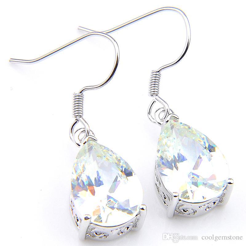 Großhandel 6 Stücke Luckyshinene Ohrring Für Frauen Weiß Zirkonia Ohrringe 925 Silber Lange Baumeln Ohrringe Hochzeit Ohrringe