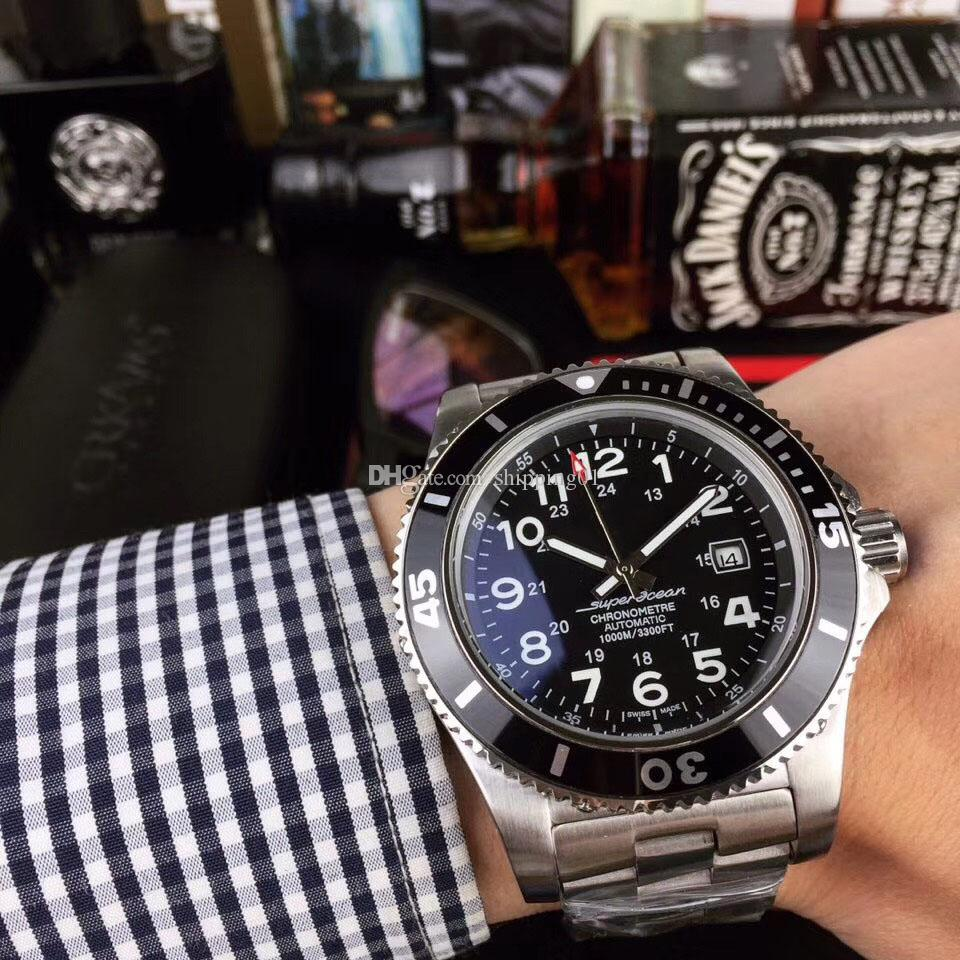 뜨거운 판매 남성 디자이너 디자인 시계 스틸 벨트 완전 자동 남성 시계 세라믹 링 43mm 남성 캐주얼 시계