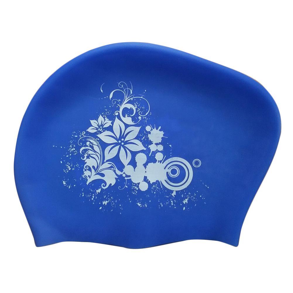 Donne Nuoto Cap Hat impermeabile Pool morbido silicone Capelli lunghi stampati adulti Moda Sport non protezione signore slittamento Ear