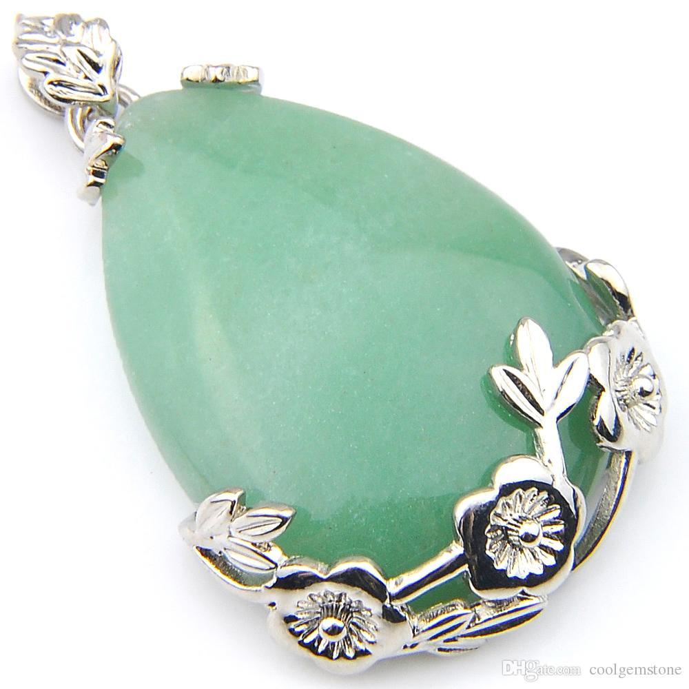 Luckyshine 27 * 25 mm 6 Unids / lote Vintage Silver Natural Green Dongling Colgante de Cristal NUEVO Hecho A Mano Flor de Rose Colgante Collar de la joyería