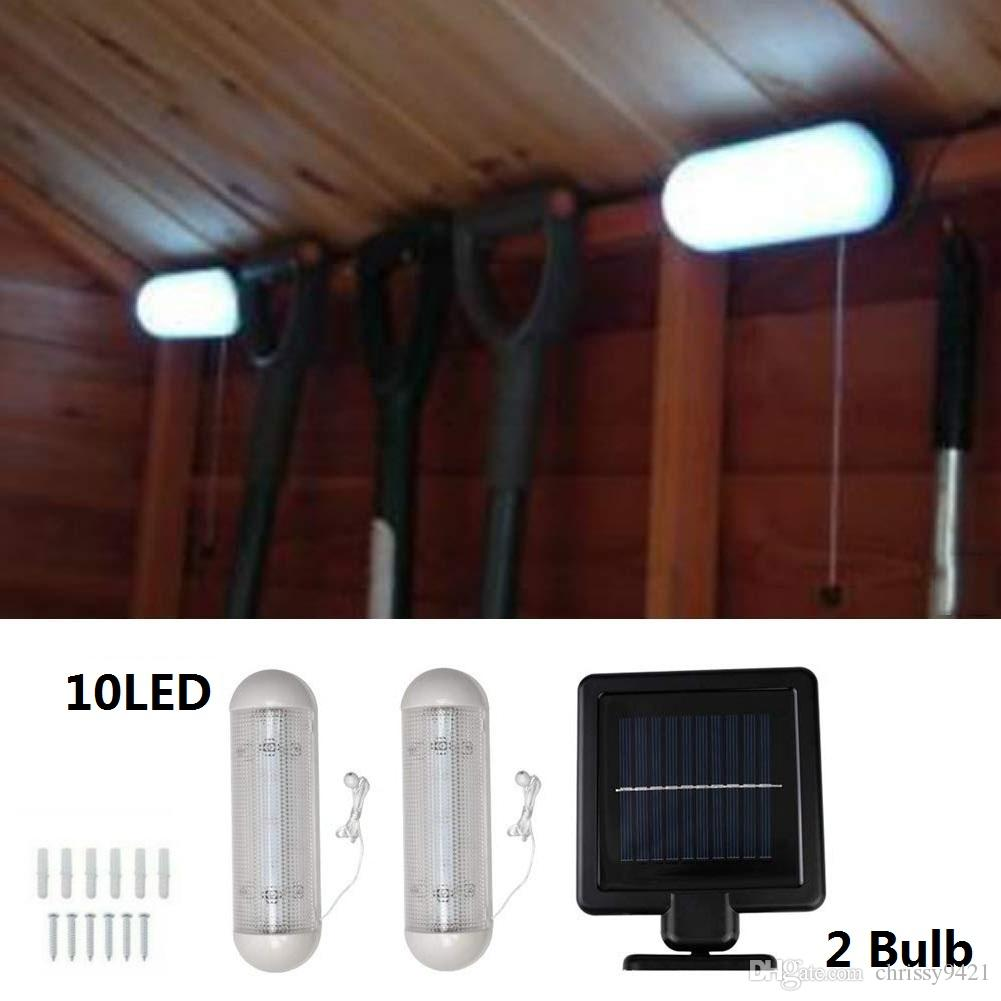 Indoor Shed 10 LED Lights with Solar Panel Garage Lights Rechargeable Wall Light with Pull Cord Switch Stable Garden Courtyard