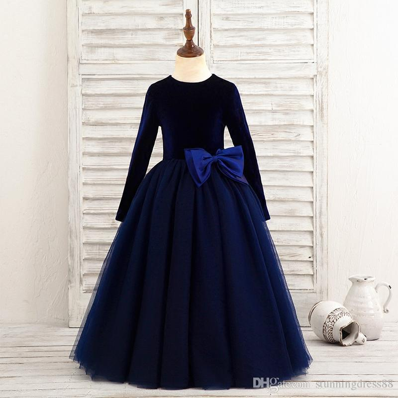Fashion Navy Velvet Girls Pageant Dresses A line Cheap Tulle With Long Sleeves Big Bows Zipper Back Kids Formal Prom Evening Party Dresses