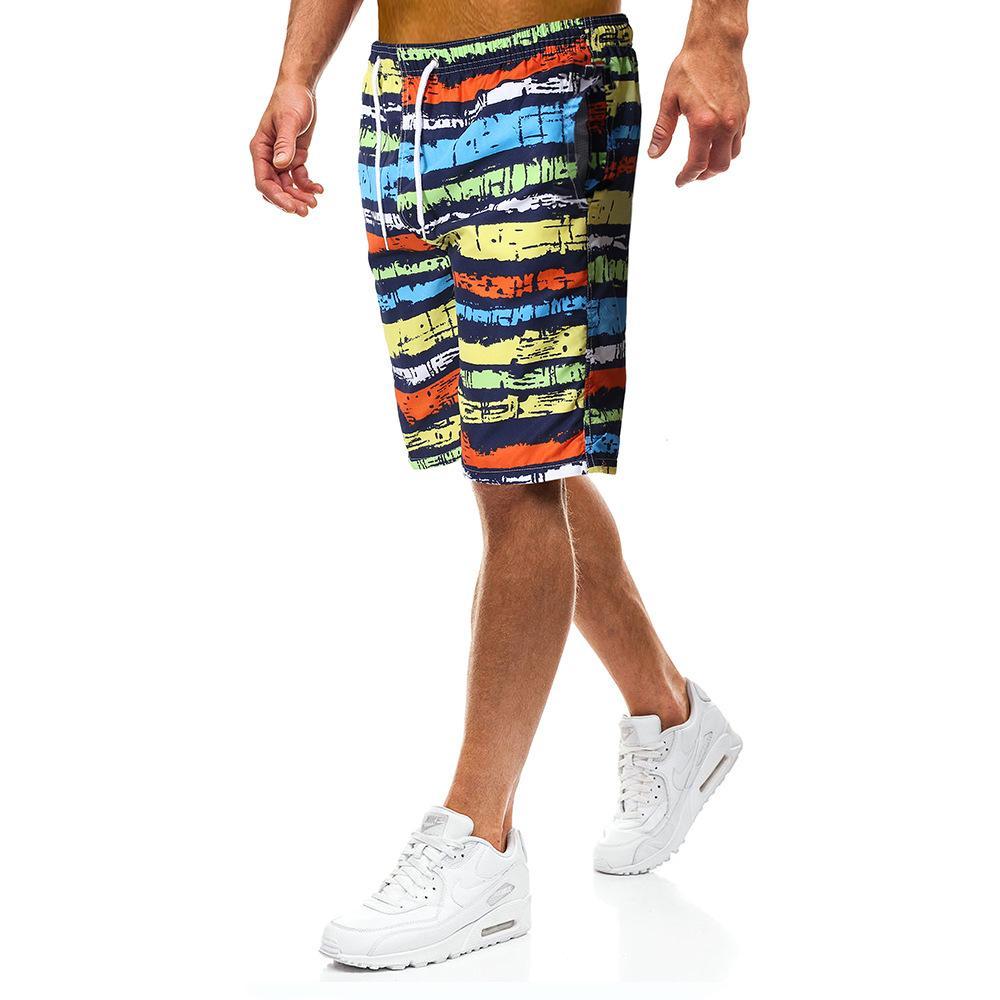 Yaz Erkek Şort Diz Boyu İpli Plaj Quck Kurutma Casual Kısa Pantolon Erkek Gökkuşağı Çizgili Nefes Şort