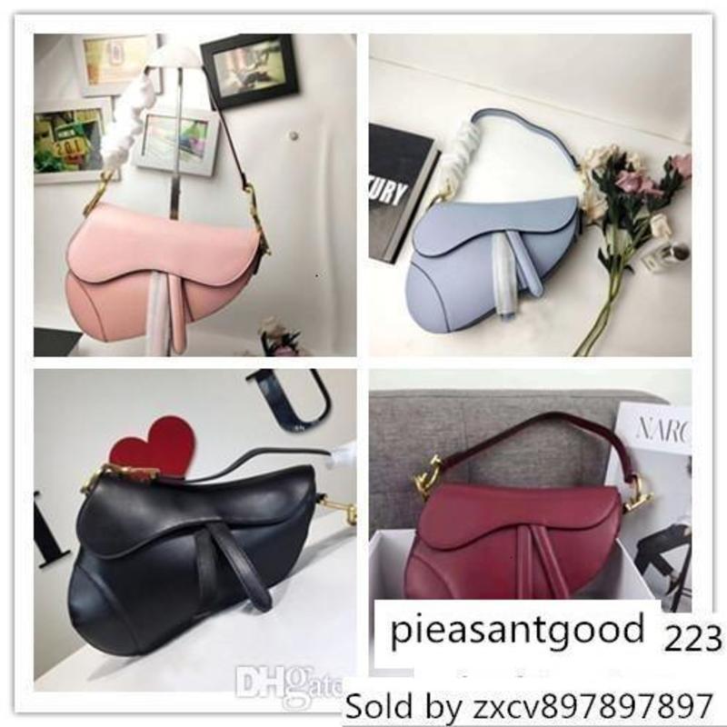 Designer D Saddle Leather Ladies Shoulder Bag Metal Letter Handbag 12 Colors