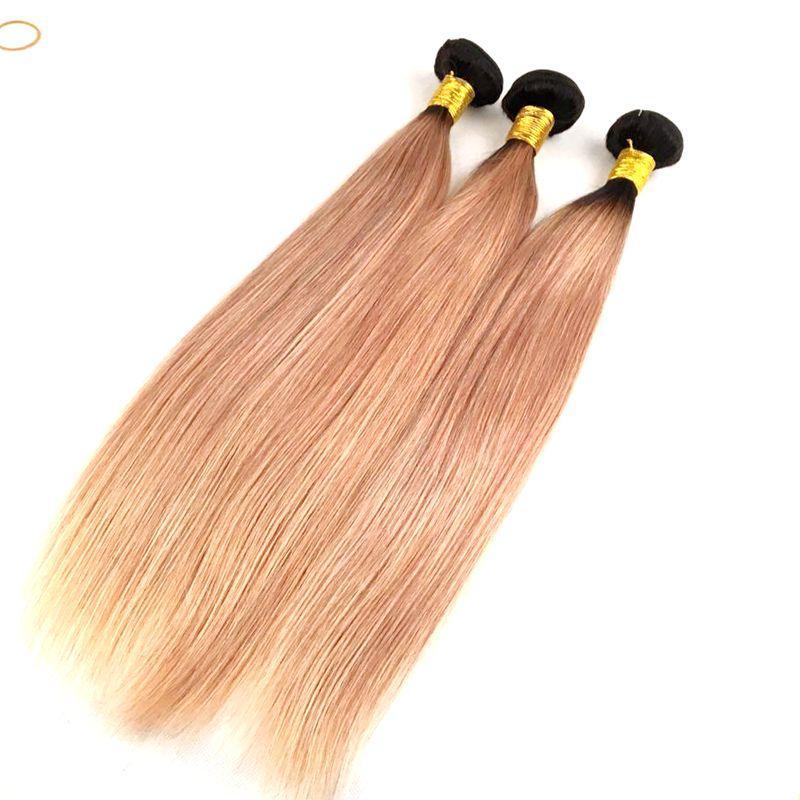 Mink Virgin Brazilian Hair Weaves Ombre Human Hair Bundles 1B/4/27 Straight Body Wave Ombre Weaving Hair Extensions
