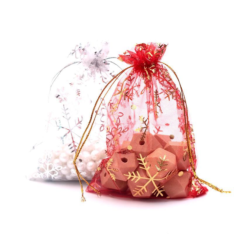 حار بيع هدايا عيد الميلاد حلوى الزفاف التعبئة أكياس 500pcs / lot بالجملة 13 * 18cm سنو وايت فليك أكياس تصميم الأورجانزا