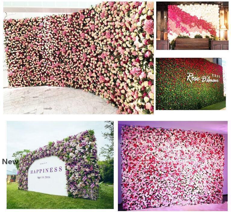 Rosa artificial 40x60cm Colores personalizados pared de la decoración de la boda de Rose de seda de flores artificiales telón de fondo la pared de flores EEA1587 romántica