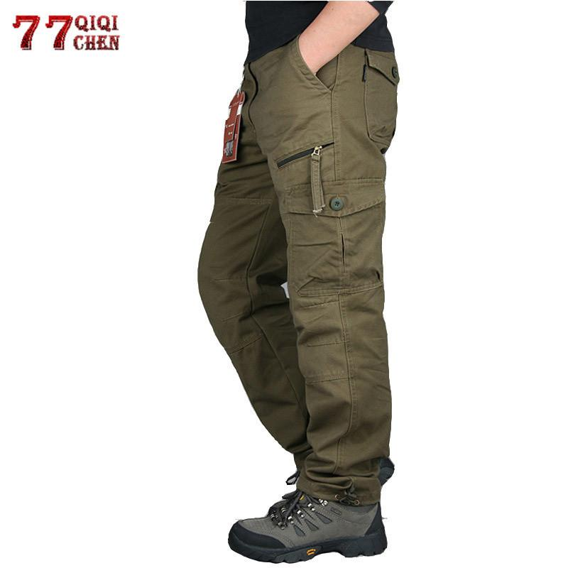 2019 Mens Cargo Pants Tactical Multi-Pocket Overalls Male Combat Cotton Loose Slacks Trousers Army Military Work Straight Pants T200219