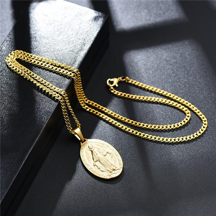 Gold Charm Mens Virgin Mary Pendant Necklace Fashion Hip Hop Jewelry Pendant 18K Gold Plated Link Chain Designer Necklace For Men Women Gift