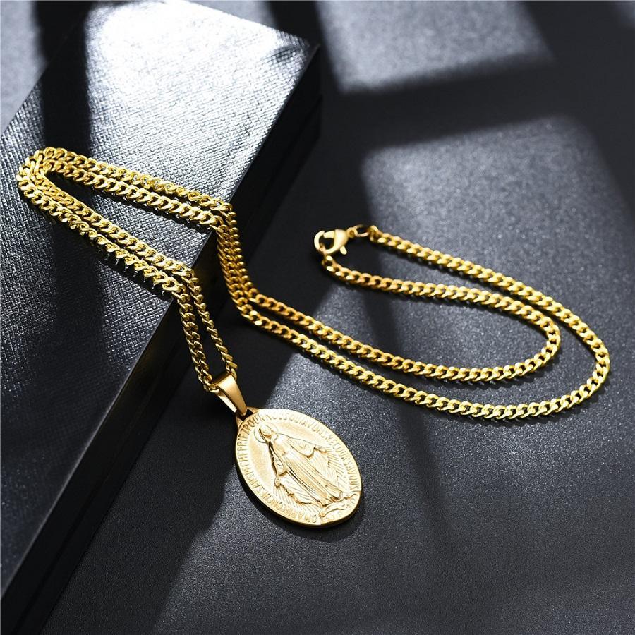 Charm de oro para hombre Virgen María Collar Colgante Moda Hip Hop Joyería Colgante 18K Chapado en oro Cadena de enlace Collar para hombres Mujeres Regalo