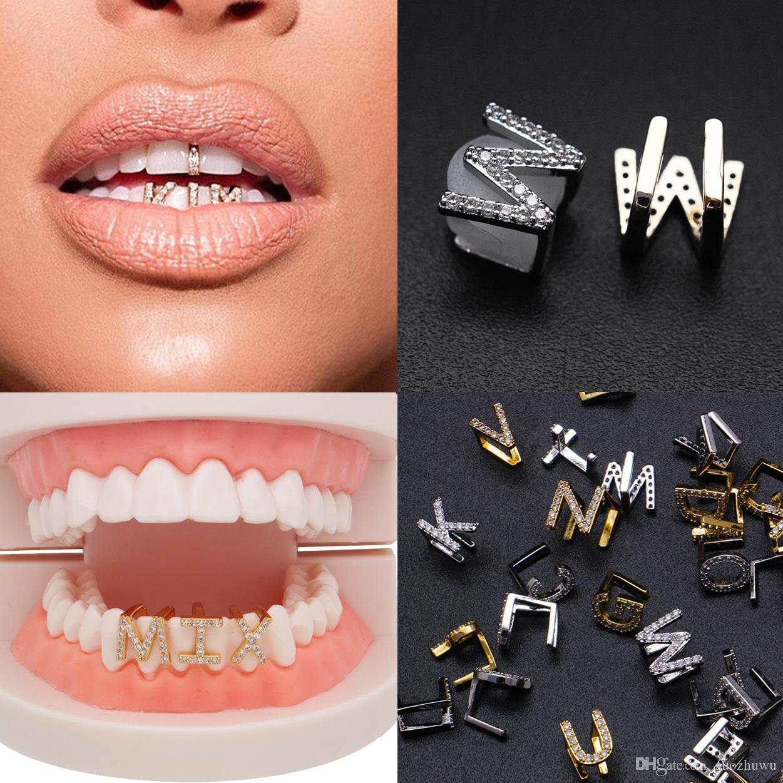 Los dientes de oro blanco de oro hacia fuera helado A-Z Letra de encargo Grillz de diamante completo del bricolaje colmillo Parrillas diente tapa inferior Hip Hop boca dental dientes Tirantes