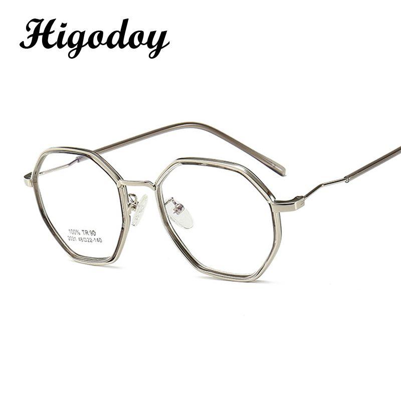 Оптовая продажа-Higodoy ретро женщины металлические очки рамка для мужчин полигон оптический глаз Gls Framegular прозрачный Винтаж
