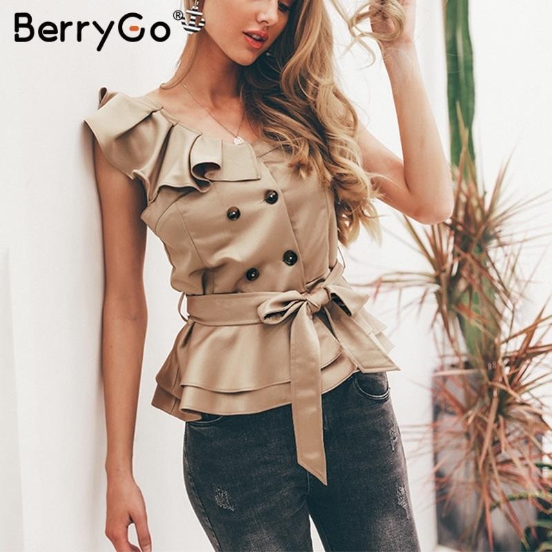 Berrygo Sexy One Shoulder Irregular Women Camis Tops Summer Ruffle Sashes Khaki Silk Tanks Blusas Elegant Party Female Camisoles C19041101
