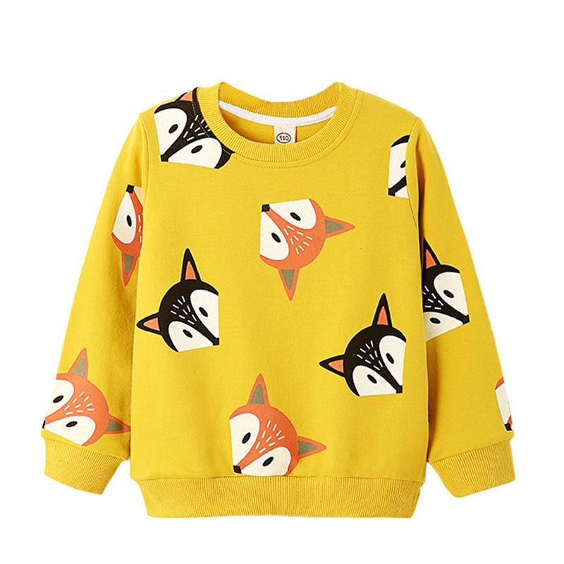 가을 스웨터 아동 셔츠 유아 소년 소녀 긴 소매 만화 여우 인쇄 T 셔츠 블라우스 티 탑 어린이 의류 3-7Y