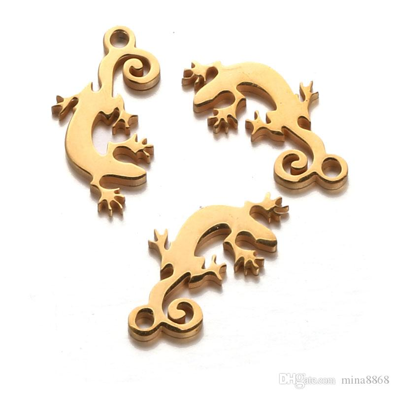 9*18mm New Gold Silver Color Stainless Steel Lizard Gecko Charms for Jewelry DIY Making Animal Charms Accessories Findings