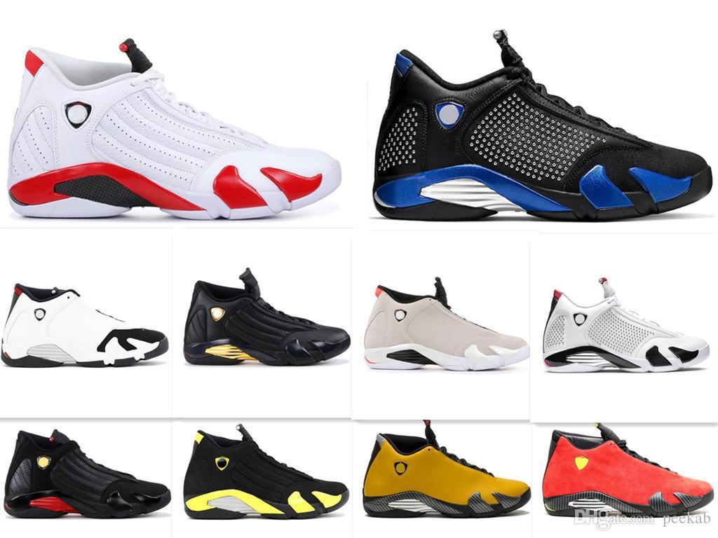 14S erkek basketbol ayakkabıları XIV 23 Şeker Kamışı Ters Siyah Parmak İndiglo Fusion Varsity Kırmızı Süet Son Shothunder B Spor Spor ayakkabılar 7-13 mens
