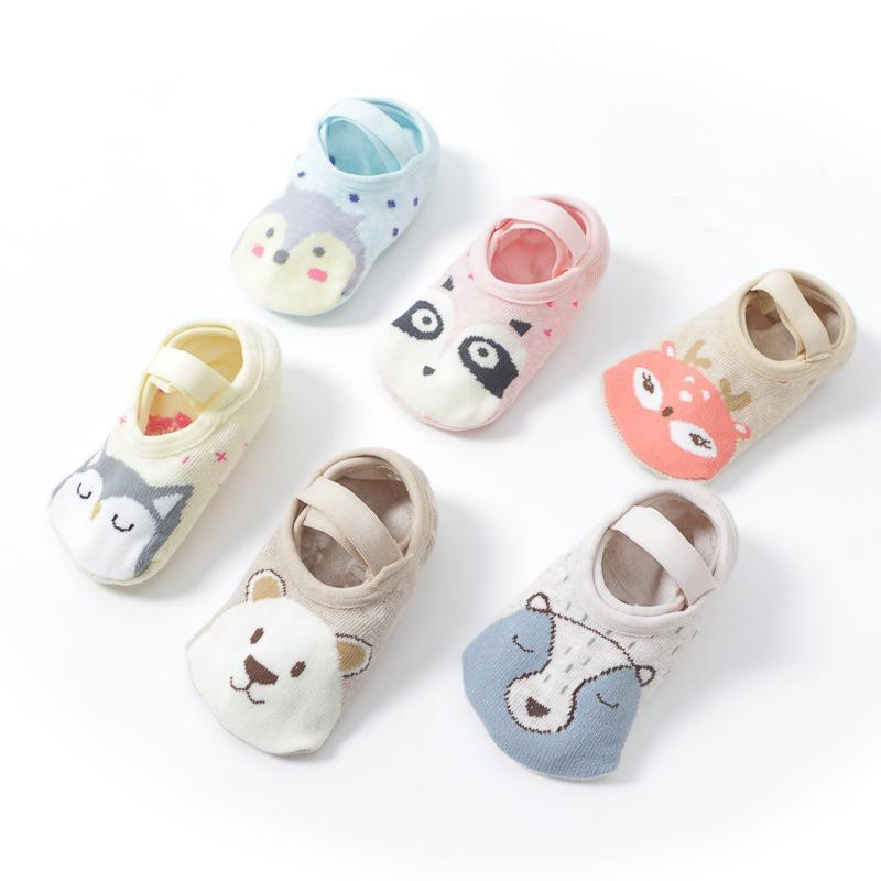 Algodão macio da criança do bebê antiderrapante meias meninas bonitos dos desenhos animados Piso meias bebê meninas infantil Anti Slip Andar Meias com aperto Non Skid