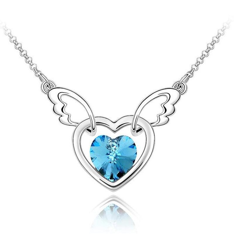 Fashion Crystal from Austrian Heart Pendant Choker Necklace Female Women Gift Bride Wedding Jewelry Accessories 4414