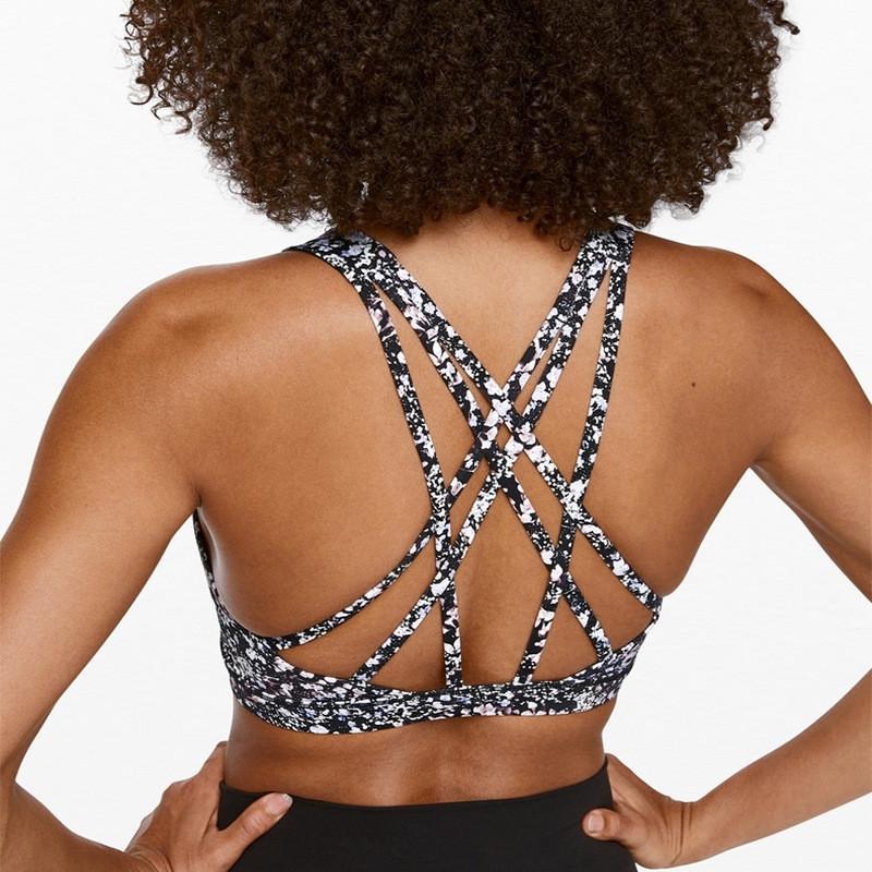 Livre para ser sereno Exercício sutiã esportivo copos removíveis de tiras de volta detalhando Top Yoga Bra fornecer luz Suporte Gym Fitness
