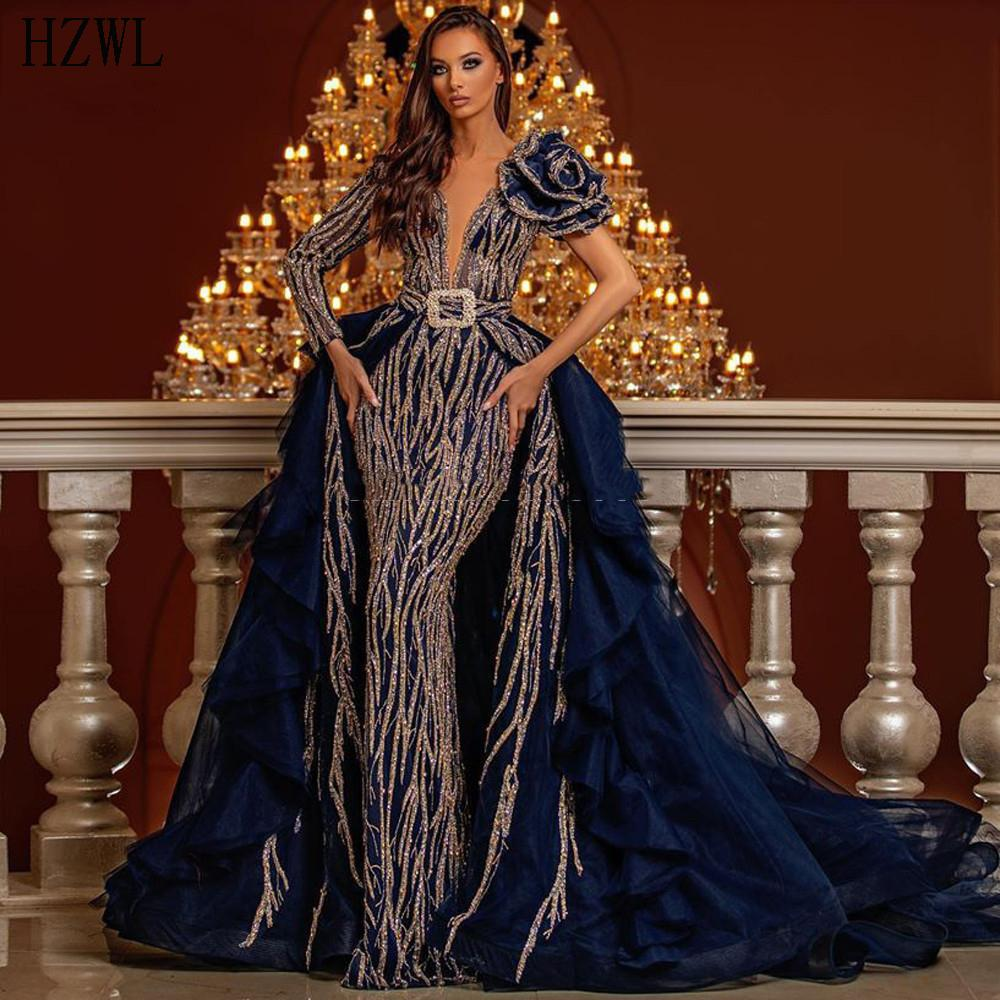 One Sleeve Evening Dresses With Detachable Train V-Neck Dubai Moroccan Saudi Arabia Mermaid Party Dress 2020 Prom Dresses