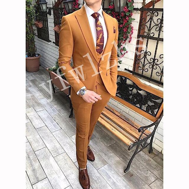 Handsome One Button Groomsmen picco risvolto smoking dello sposo abiti da uomo da sposa / Prom / Cena Best Man Blazer (Jacket + Pants + Tie + Vest) W121