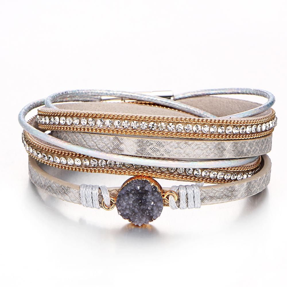 Multilayer Leather Wrap Bracelet With Magnetic Clasp Handmade Vintage Rhinestone Druzy Bracelets For Women Personalized Gifts