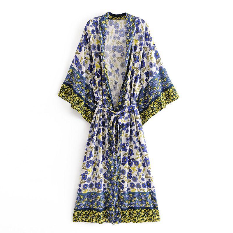 AYUALIN Kimonorobe Frauen Blusen Shirts Vintage Baumwolle Blumendruck Sommer Cardigan Boho Strand-Bikini-Vertuschung Tunika vestidos